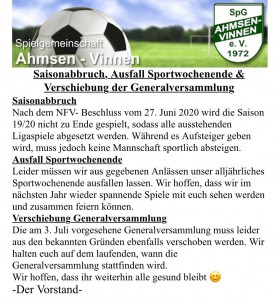 Absage Sportwochenende &GV